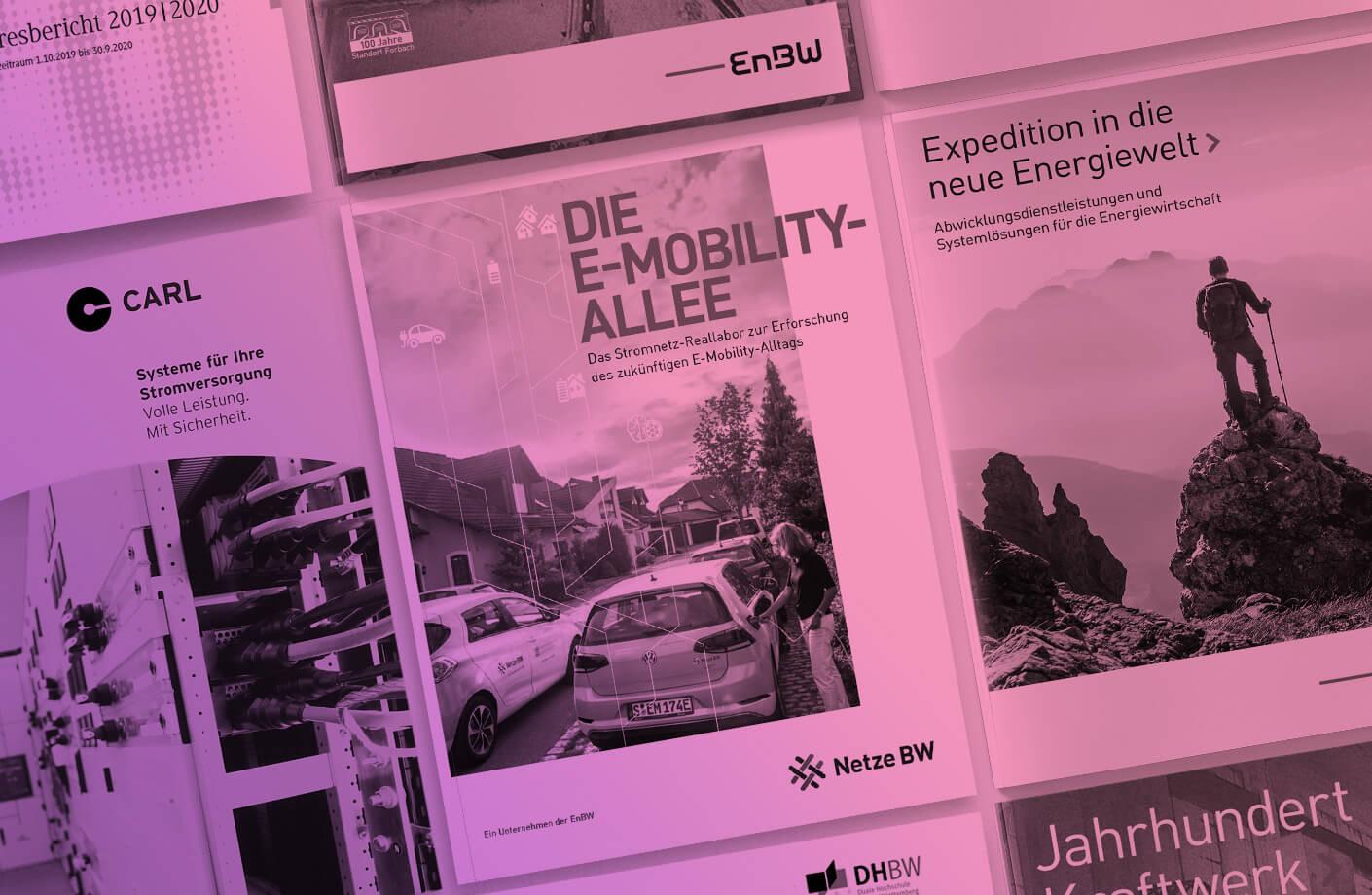 Bild von Broschüren von EnBW und Netze BW als Beispiel für Printprodukte durch Agentur