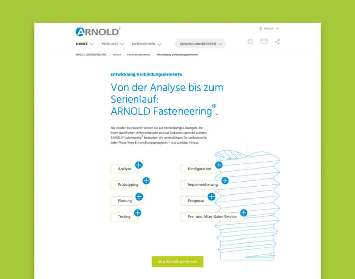 Webdesign Agentur entwickelt Landingpage für Arnold.